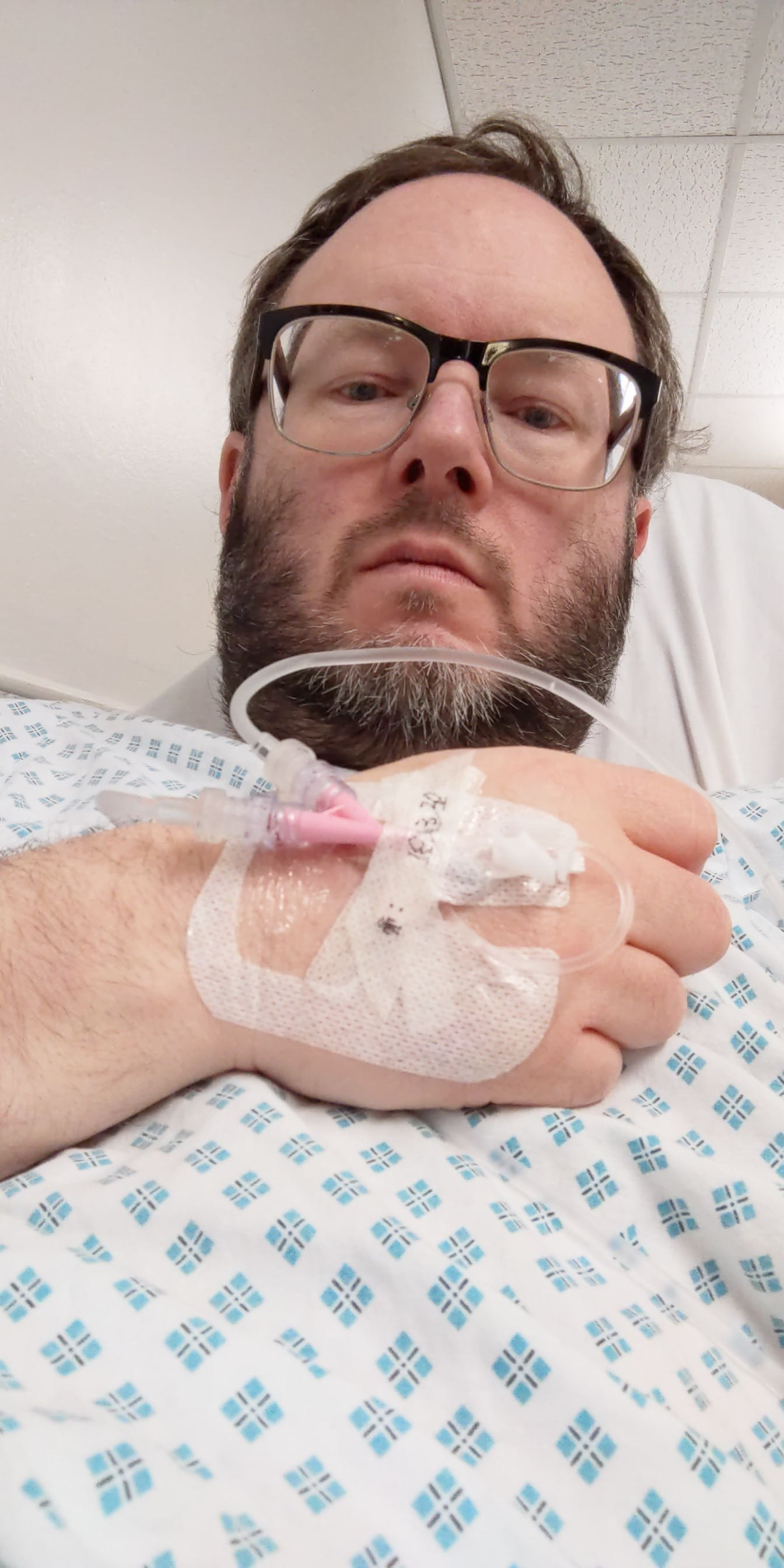 Me in hospital with a canula for the drip March 2020 (photo: James Kemp)